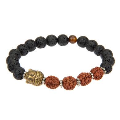 Armband Bali mit Lavakugeln schwarz und Rudraksha-Perlen und Buddhakopf in Messing