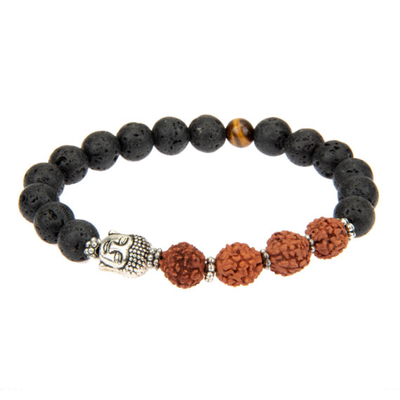 Armband Bali mit Lavakugeln schwarz und Rudraksha-Perlen und Buddhakopf in silber
