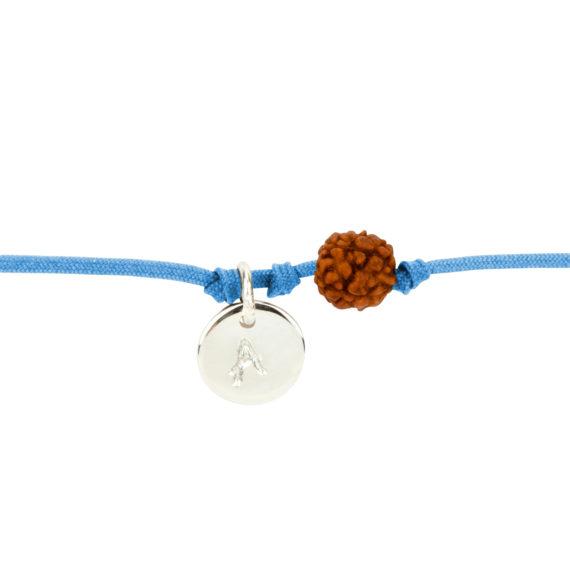 Textil-Armband mit Silberplakette und Rudraksha-Perle blau