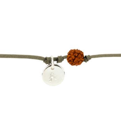 Textil-Armband mit Silberplakette und Rudraksha-Perle braun