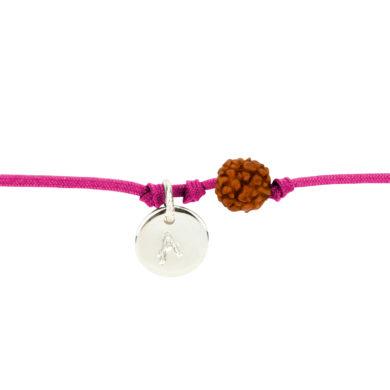 Textil-Armband mit Silberplakette und Rudraksha-Perle fuchsia