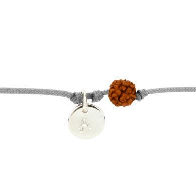 Textil-Armband mit Silberplakette und Rudraksha-Perle hellgrau