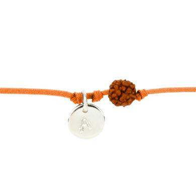 Textil-Armband mit Silberplakette und Rudraksha-Perle orange