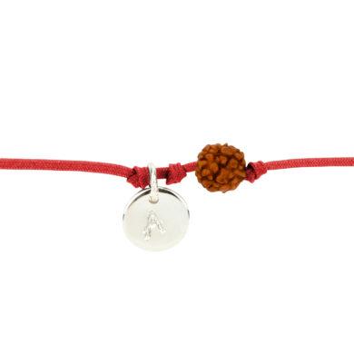 Textil-Armband mit Silberplakette und Rudraksha-Perle rot