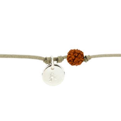 Textil-Armband mit Silberplakette und Rudraksha-Perle sand